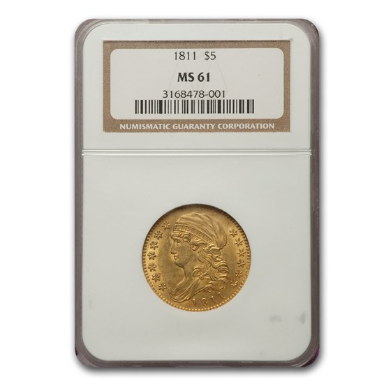 1811 Capped Bust $5 Gold Half Eagle MS-61 NGC