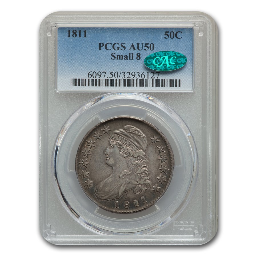 1811 Capped Bust Half Dollar AU-50 PCGS CAC (Small 8)