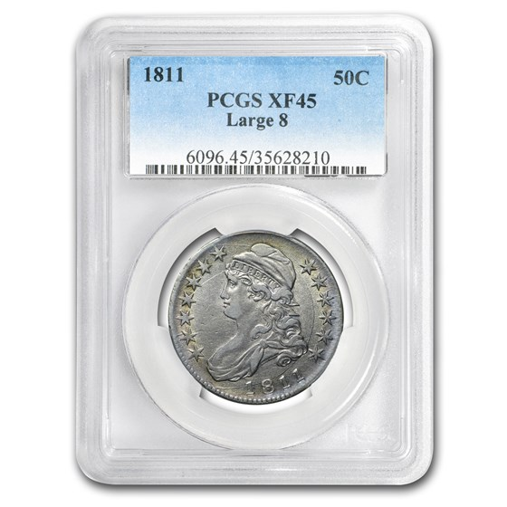 1811 Capped Bust Half Dollar XF-45 PCGS (Large 8)