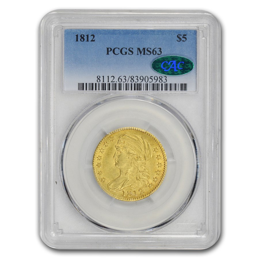 1812 $5 Capped Bust Gold Half Eagle MS-63 PCGS CAC