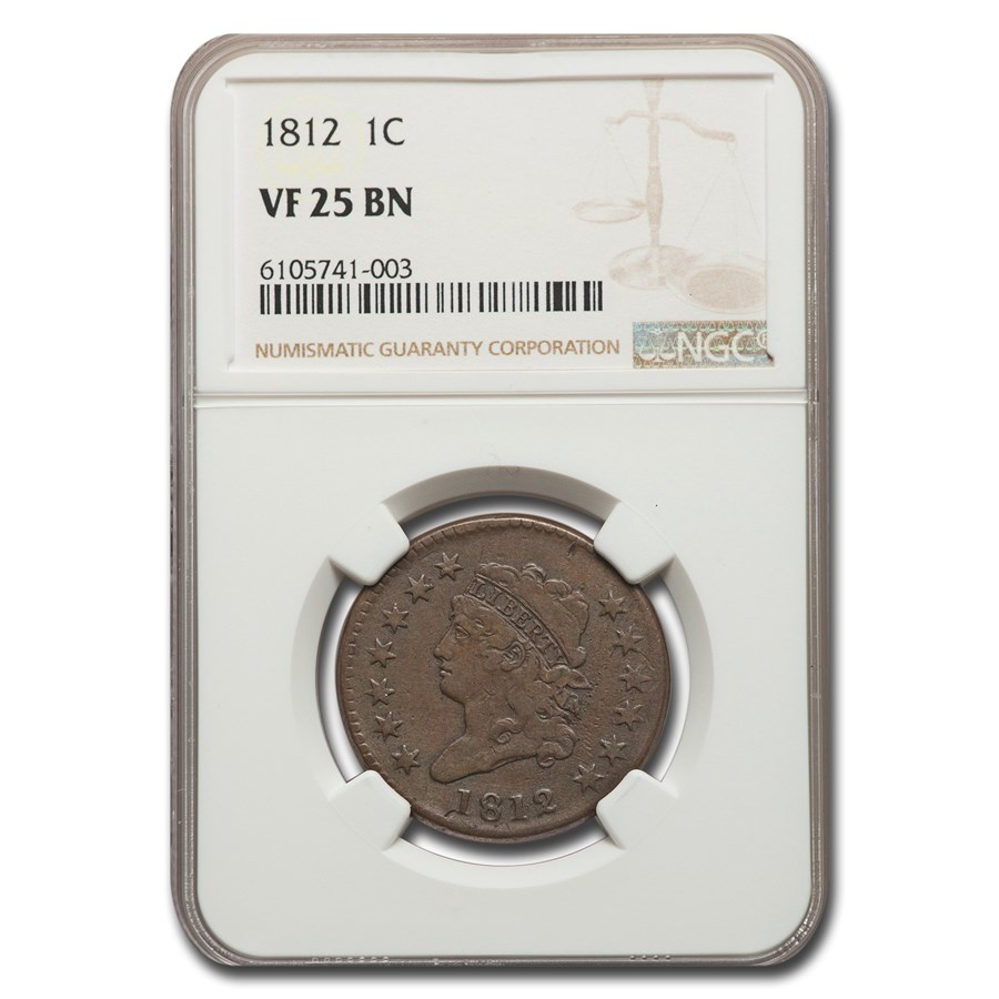 1812 Large Cent VF-25 NGC (Brown)