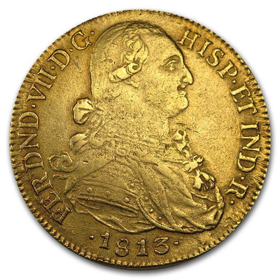 1813-NR JF Colombia Gold 8 Escudo Ferdinand VII XF