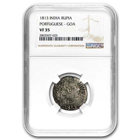 1813 Portugese India Silver Goa VF-35 NGC