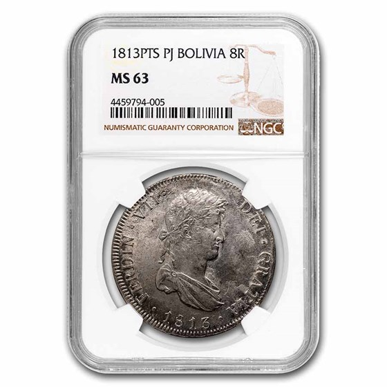 1813-PTS PJ Bolivia Silver 8 Reales Ferdinand VII MS-63 NGC