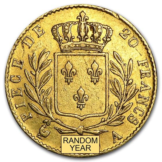 1814-1815 France Gold 20 Francs Louis XVIII (Avg Circ)