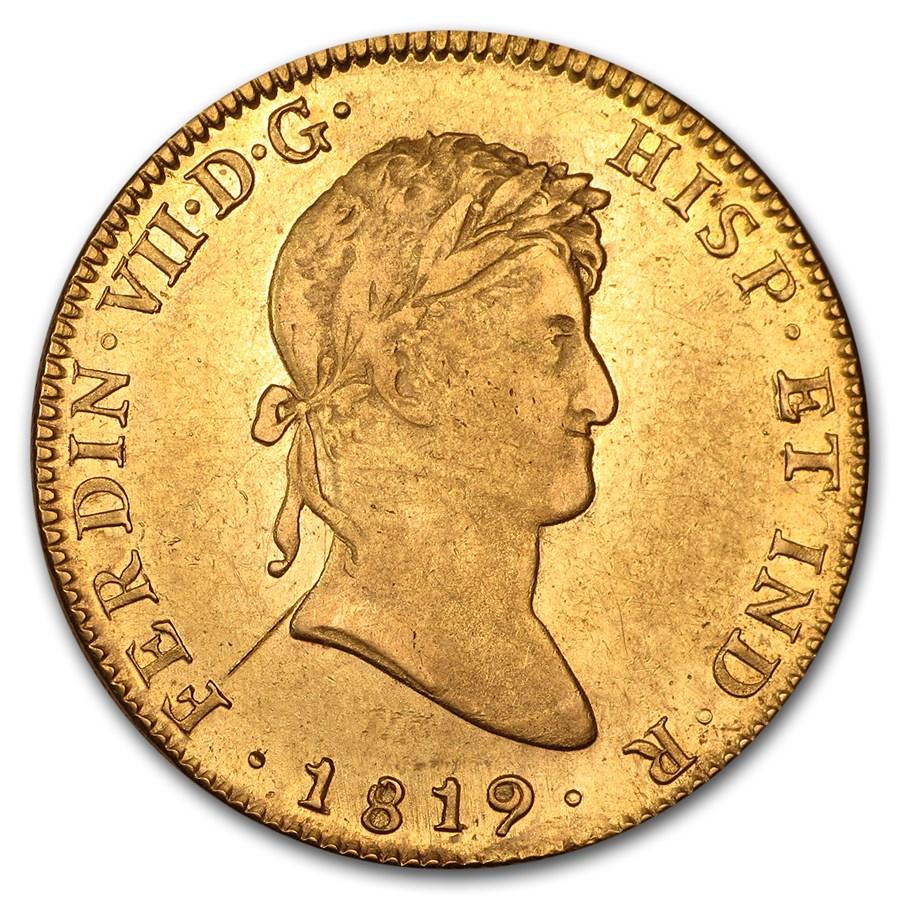 1814-1821 Mexico Gold 8 Escudos Ferdinand VII XF Details