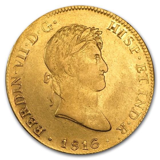 1814-1821 Mexico Gold 8 Escudos Ferdinand VII XF