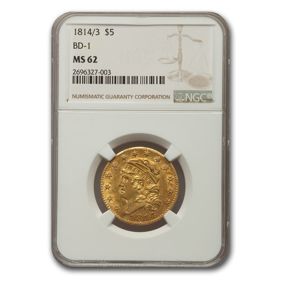 1814/3 Capped Bust $5 Gold Half Eagle MS-62 NGC