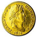 1814-M GJ Spain Gold 2 Escudo Ferdinand VII XF