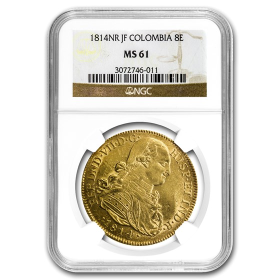 1814 NR-JF Colombia Gold 8 Escudo Ferdinand VII MS-61 NGC