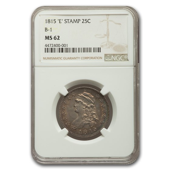 """1815 Capped Bust Quarter MS-62 NGC (""""E"""" Stamp B-1)"""