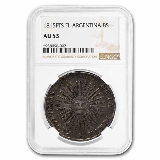 1815-PTS F Argentina 8 Reales Rio de la Plata AU-53 NGC