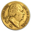 1816-1824 France Gold 20 Francs Louis XVIII (Avg Circ)