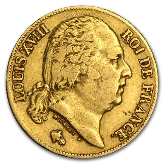 1816-1824 France Gold 20 Francs Louis XVIII (Avg Circ)