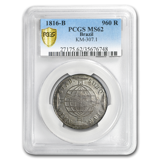 1816-B Brazil Silver 960 Reis MS-62 PCGS