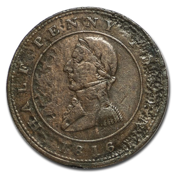 1816 Montreal Half Penny Token Fine Details (Pitted)