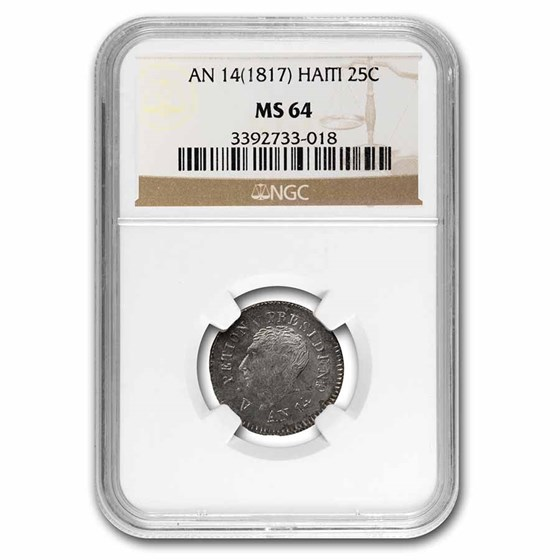 1817 Haiti Silver 25 Centimes MS-64 NGC