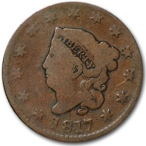 1817 Large Cent 13 Stars VG