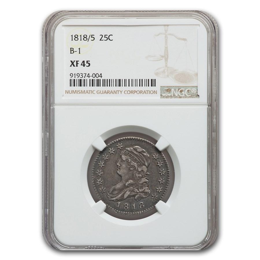 1818/5 Capped Bust Quarter B-1 XF-45 NGC