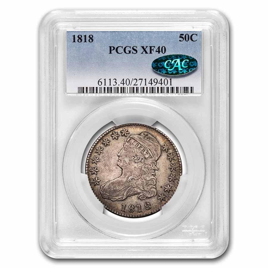 1818 Bust Half Dollar XF-40 PCGS CAC