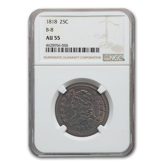1818 Capped Bust Quarter AU-55 NGC (B-8)