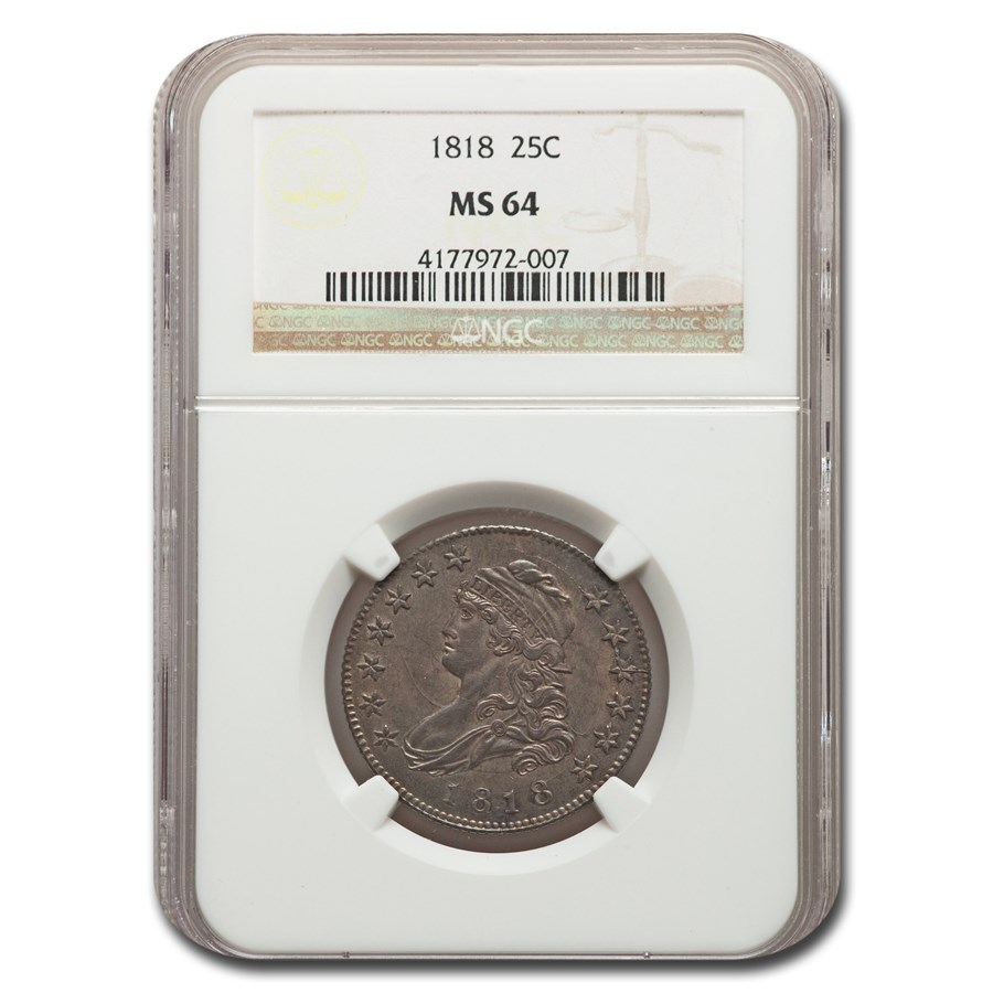 1818 Capped Bust Quarter MS-64 NGC