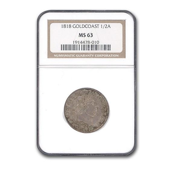 1818 Gold Coast Silver 1/2 Ackey George III MS-63 NGC