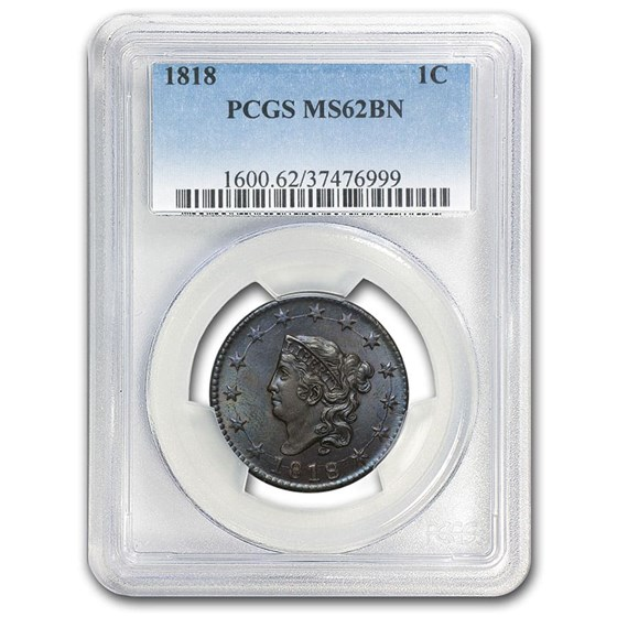 1818 Large Cent MS-62 PCGS (Brown)