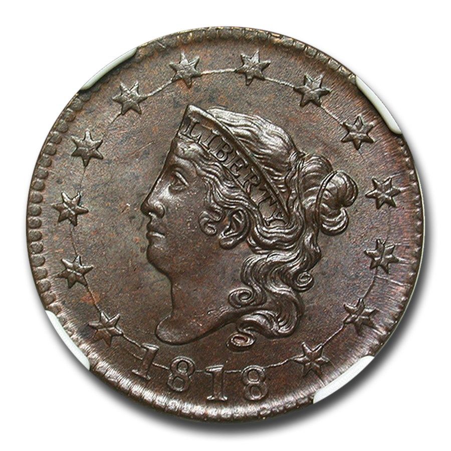 1818 Large Cent MS-65 NGC (Brown)