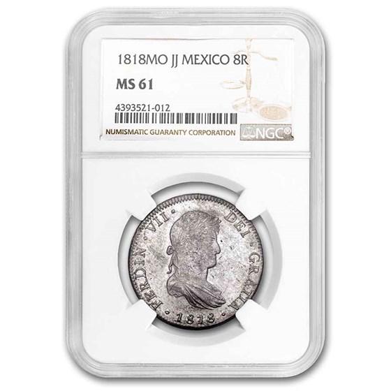 1818-Mo JJ Mexico Silver 8 Reales MS-61 NGC