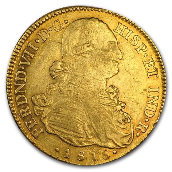1818-NR JF Colombia Gold 8 Escudo Ferdinand VII XF