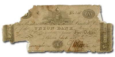 1819 $5 The Union Bank of Boston MA-385 VG COUNTERFEIT