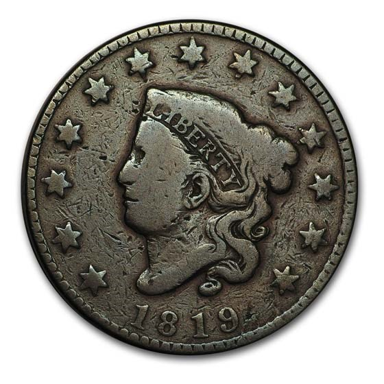 1819 Large Cent Small Date VG