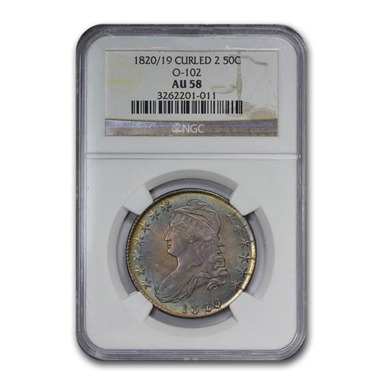 1820/19 Capped Bust Half Dollar AU-58 NGC Curled 2, O-102)