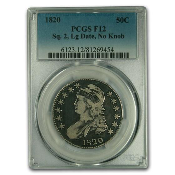 1820 Capped Bust Half Dollar Fine-12 PCGS (Sq 2 Lg Date, No Knob)