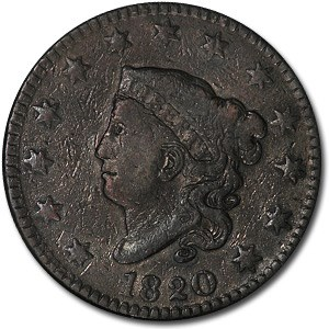 1820 Large Cent Lg Date VF