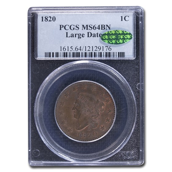 1820 Large Cent MS-64 PCGS CAC (Brown, Large Date)