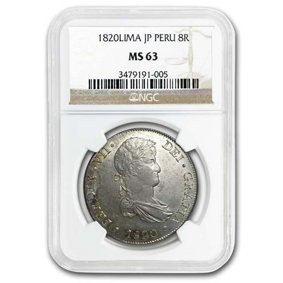 1820-LIMA JP Peru Silver 8 Reales MS-63 NGC