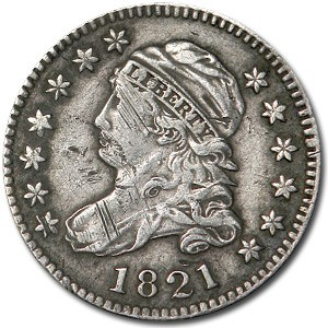 1821 Capped Bust Dime Large Date XF Details (Scratched)