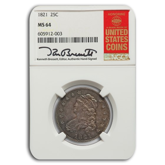 1821 Capped Bust Quarter MS-64 NGC