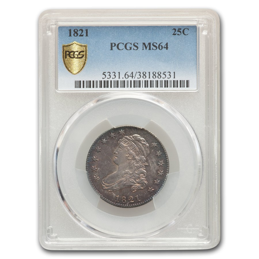 1821 Capped Bust Quarter MS-64 PCGS