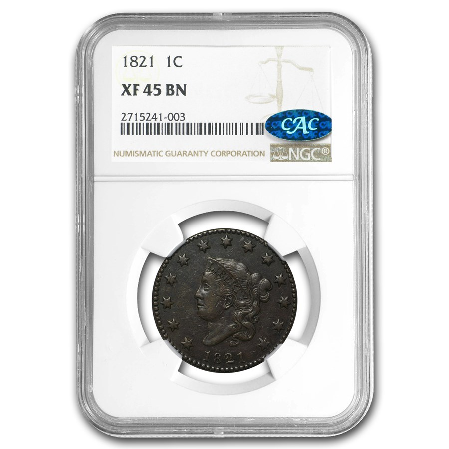 1821 Large Cent XF-45 NGC CAC (Brown)