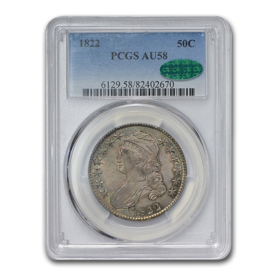 1822 Capped Bust Half Dollar AU-58 PCGS CAC