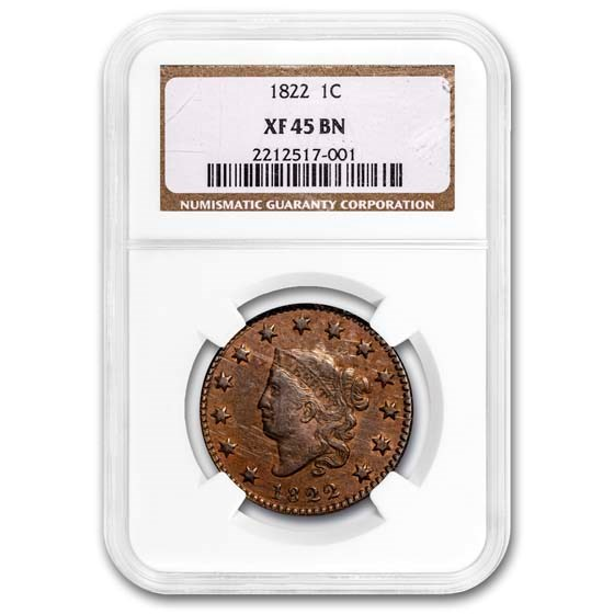 1822 Large Cent XF-45 NGC (BN)