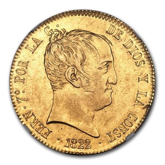 1822-M SR Spain Gold 320 Reales AU-58 NGC
