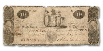 1822 State Bank @ Trenton, NJ $10.00 NJ-560, VG details