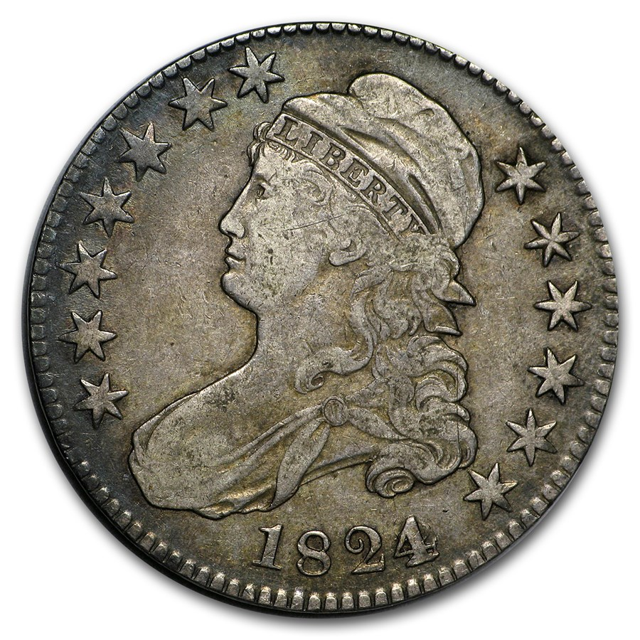 1824/0 Capped Bust Half Dollar VF