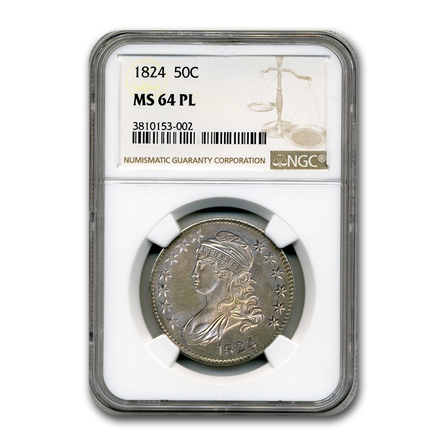 1824 Capped Bust Half Dollar MS-64 NGC (PL)