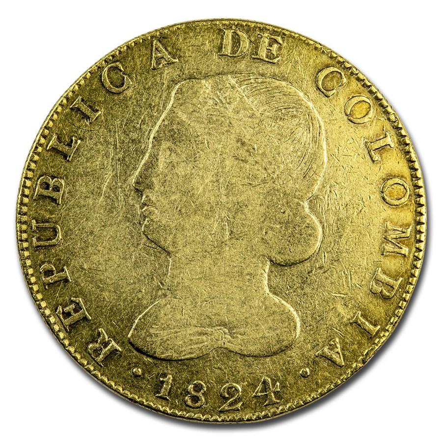 1824 Colombia EF Bogota Gold 8 Escudos VF