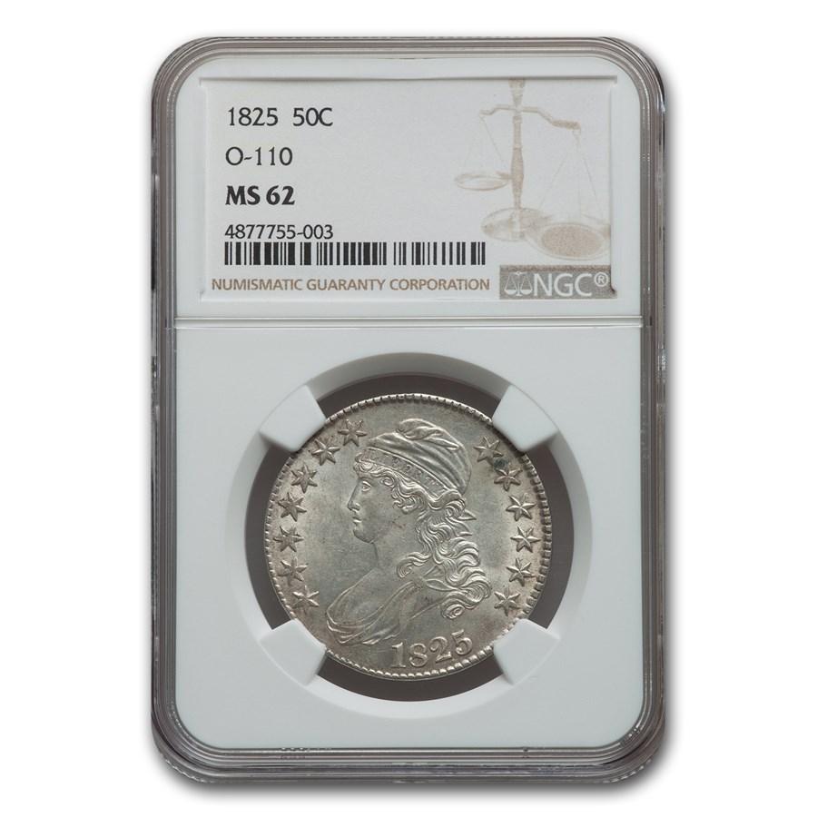 1825 Capped Bust Half Dollar MS-62 NGC (O-110)